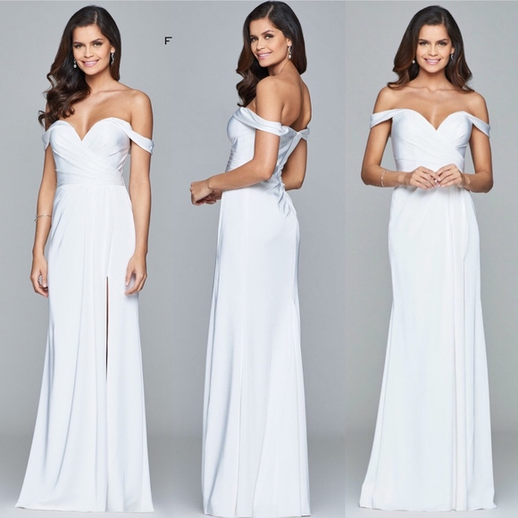 1afe0afb5ac0 Faviana 8083 White Off Shoulder Dress NWT